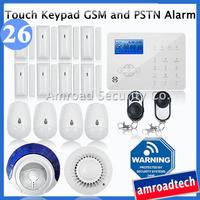 Touch Keypad LCD GSM PSTN Wireless Home Office Security Burglar Alarm System w Auto Dial, 32 Wireless+8wire Zones, iHome328GPB26