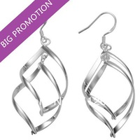 Fashion Jewelry 925 Silver Plated Earrings Leave Shape Earrings Big Hooks Drop Earrings CLOVER1121M/E168