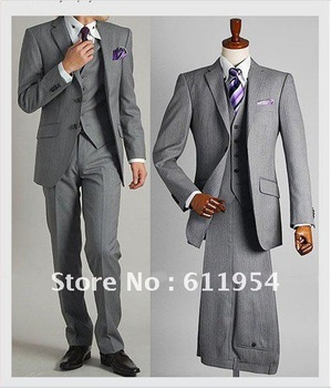 2012 NEW Free hipping Men's wedding dress, Slim suits , two single-breasted suit,85% wool15% fiber gray coat + pants+vest