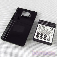 Free shipping NEW 3500mAh Extend Battery with Black Cover Case For Galaxy SII i9100 batterry