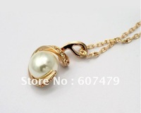 Wholesale 1PCS/lot  Free Shipping 18K Yellow Gold Plated Jewelry Crystal 18K GP White Pearl Pendant Necklace N72963Y1
