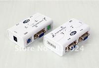 2port KVM Switch Auto plastic case with 2pcs cable CKL-52A
