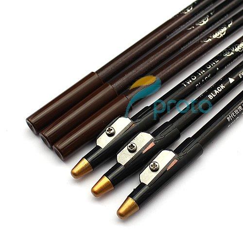 12pcs/lot Косметика загородный водонепроницаемые подводка pencial с точилка черного и коричневого цветов в одном pencial mk02389