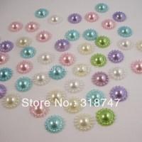 Free Shipping wholesale 12mm mix colour flower imitation Pearls Flat back DIY(600pcs/lot)005004 (7)