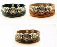 Min order $15 Wholesale fashion cow leather bracelet  Best selling bracelet lots 12pcs/lot 3color cheap leather jewelry dropship