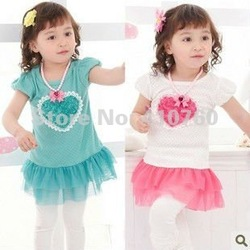 wholesale children's dresses tutu baby girl dress kids wear flower Princess T-shirt kids clothing Children apparel(China (Mainland))