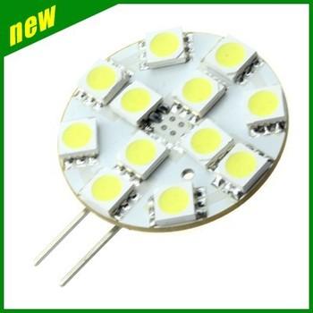 Fress shiping 10pcs G4 5050 12 SMD Warm White Marine Cabinet LED Light Bulbs Lamp 12V