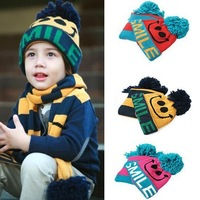New 2013 High Quality Baby Boys Girls Hat Scarve Set Toddler Children Smile beanies Kids Knitted Caps+Scarves for Autumn Winter