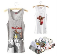 Newest new fashion 100% cotton tank top for women cute cat&mouse MICKY women's vest