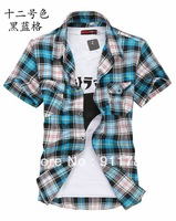 Promotion 2014 new Fashion Double pocket plaid short-sleeved shirts men casual slim fit shirts for men checked shirt,M-XXXL