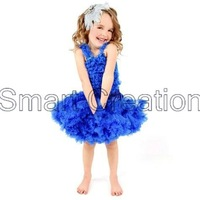 2012.5.31 New Arrival Baby girl's Royal Blue Petti skirt set,Petti tops/Ruffle tank + Petti skirt,5sets/lot,free shipping