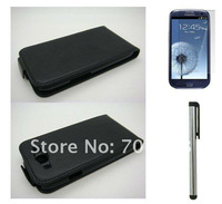New Arrival  Leather Case Cover  + Screen Protector +Stylus for Samsung Galaxy S 3 S3 SIII i9300 ,free shipping!!!