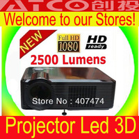 2500Lumens lcd 3D TV video games full hd portable led projector 1024x768 for home theater with HDMI USB DVBT Gift 3D Glasses