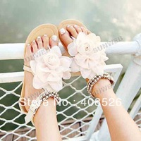 2014 new style Fashion ,Ladies Flat sandals Big Flower , princess sandals ,summer shoes,Free shipping 5013