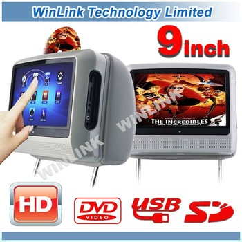 2012 New HD 9 inch Digital Touch Screen Car Headrest DVD Player +IR Wirelss Headphone 32Bit Game+IR+USB+SD+FM