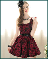 Free shipping hottest women's rose pattern sleeveless dress high waist collect sun dress dark red color S M L XL sizes SH-353