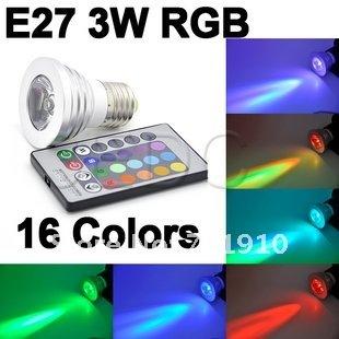 free shipping  3W E27 Remote Control 16Color RGB LED Bulb Light lamp 90V-240V