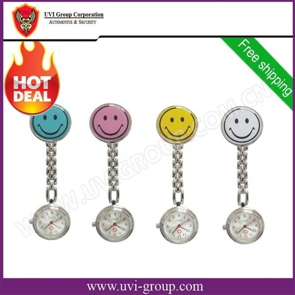 20pcs/lot Hot Sale Smiling Face Nurse Brooch Watch,Quartz Watch,Nurse Pocket Watch,5 Colors Available+China Post Free Shipping(China (Mainland))