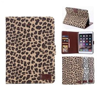 Fashion Leopard leather cover case for ipad mini, retail and wholesale,free shipping