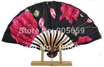 (100 pcs/lot)Printed Hand Fans 7.3'' Handmade Bamboo Fans Folding Flower Fans