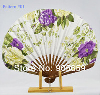 (100 pcs/lot) Handmade 8.7'' Bamboo with Oxford Cloth Ladies' Hand Fans