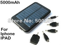 New Black Solar panel USB Charger/backup Battery 5000mAh Mobile powerbank  for IPAD Iphone 3G 4G/Mp4/MP5