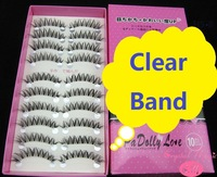 false eyelashes invisible clear band, 6 models, high quality