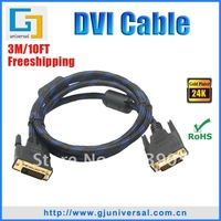 Free Shipping 3M 10FT DVI 24+1 M/M Cable, DVI to DVI Male Cable, For HDTV PC Monitor, DVI013-3