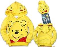 191 FREE SHIPMENT 6 pcs/ lot yellow bear KID'S SWEATER HOODIES