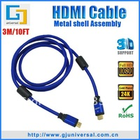 Free Shipping 3M/10FT HDMI M/M Cable 1.4(4PCS/Lot), With Metal Alloy Shell Assembly, 3D Ethernet 1080P 4K*2K,GJ-HDMI035-3