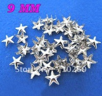 Free shiping,500pcs/lot,9mm Star Studs Nailheads Spikes Spot Bag Belt Shoes Bracelet Leather Bangle