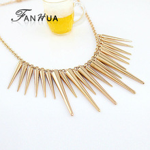New 2014 Fashion Individual New Style Gold and Silver Color Alloy Exaggerate Spike Punk Necklace for Women(China (Mainland))
