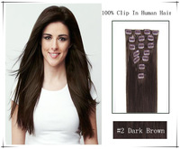 "7pieces/set 16""  18""  20""  22""  26"" Virgin Remy human hair Clip in human Hair Extensions Full head Set #2 Darkest Brown"