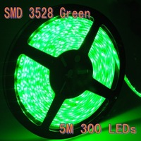 Green WaterProof 5M  SMD 3528 LED Strips 60 Leds/Meter 300 led lights house decorating free shipping
