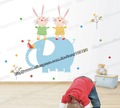 Happy Rabbit Cartoon PVC Wall Sticker, Removable and Waterproof Baby Room Deco