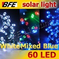 3pcs/Lot 11m 60 LED 3 Hot Colors Solar Lights Thanksgiving Camping Holiday Blue + White + Mixed-color Bright