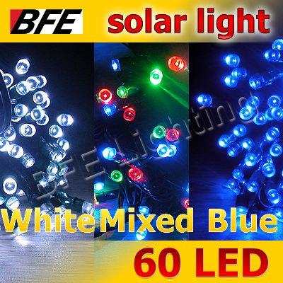 3pcs/Lot 18m 100 LED 3 Hot Colors Solar Lights Thanksgiving Camping Holiday Blue + White + Mixed-color Bright(China (Mainland))