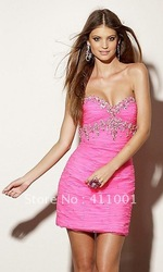 Beaded Pink Slim Mini DRESS Short Sweetheart Junior Prom Cocktail Party Homecoming Dress Clubwear All Sizes Free SHipping(China (Mainland))