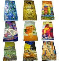 100% Silk Hot-selling High Quality all season silk scarf Van Gogh Artist oil painting long silk scarf 42*160cm or 53cm*160cm