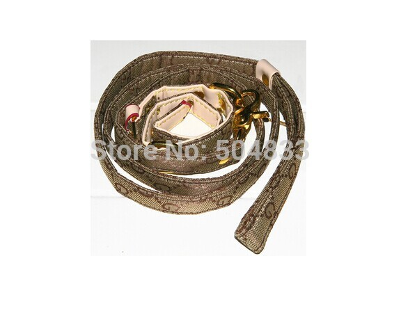 designer dog collar+leash set embroidered G brand pets puppy leashes lead M L brown(China (Mainland))