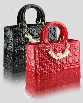 New 2015 Fashion Super Star Diamond Lattice Pearl Chain Patent Leather Bag, promotional brand designer women shoulder bag