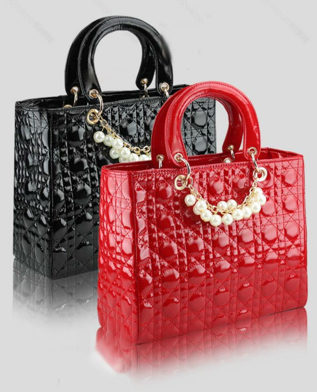New 2015 Fashion Super Star Diamond Lattice Pearl Chain Patent Leather Bag, promotional brand designer women shoulder bag(China (Mainland))