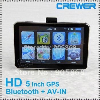 HD 800*480 5inch GPS Navigator  BT&AV IN 4GB DDR 128M load new 3D map