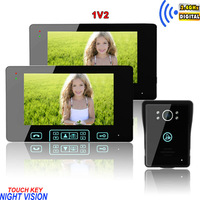 """Free shipping the newest touch key free-disturb 7"""" wireless colour video door phone / tamper alarm unlocking intercom 1V2 system"""