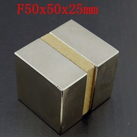2pcs/Pack Super Powerful Strong Rare Earth Block NdFeB Magnet Neodymium N50 Magnets 50x50x25mm--free shipping