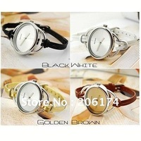 Hot~Factory promotional price Korean fashion leisure joker slim lady leather weave bracelet wristwatch