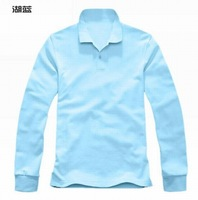 Retail Mens Cotton Solid-Color Polo Shirts / Casual Long Sleeve T-shirt