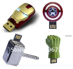 Retail genuine 8G usb drive usb flash drive the avengers iron man capatain america thor hulk metal Free shipping+drop shipping(China (Mainland))