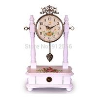 Nice European Decorative Table Clock Desk Clock Wood Vintage Desk Clock