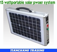 Free Shipping by DHL, 15W, 220V/110V(output) Ultra Thin Portable Solar System for Home with LED Lighting + AC Charger
